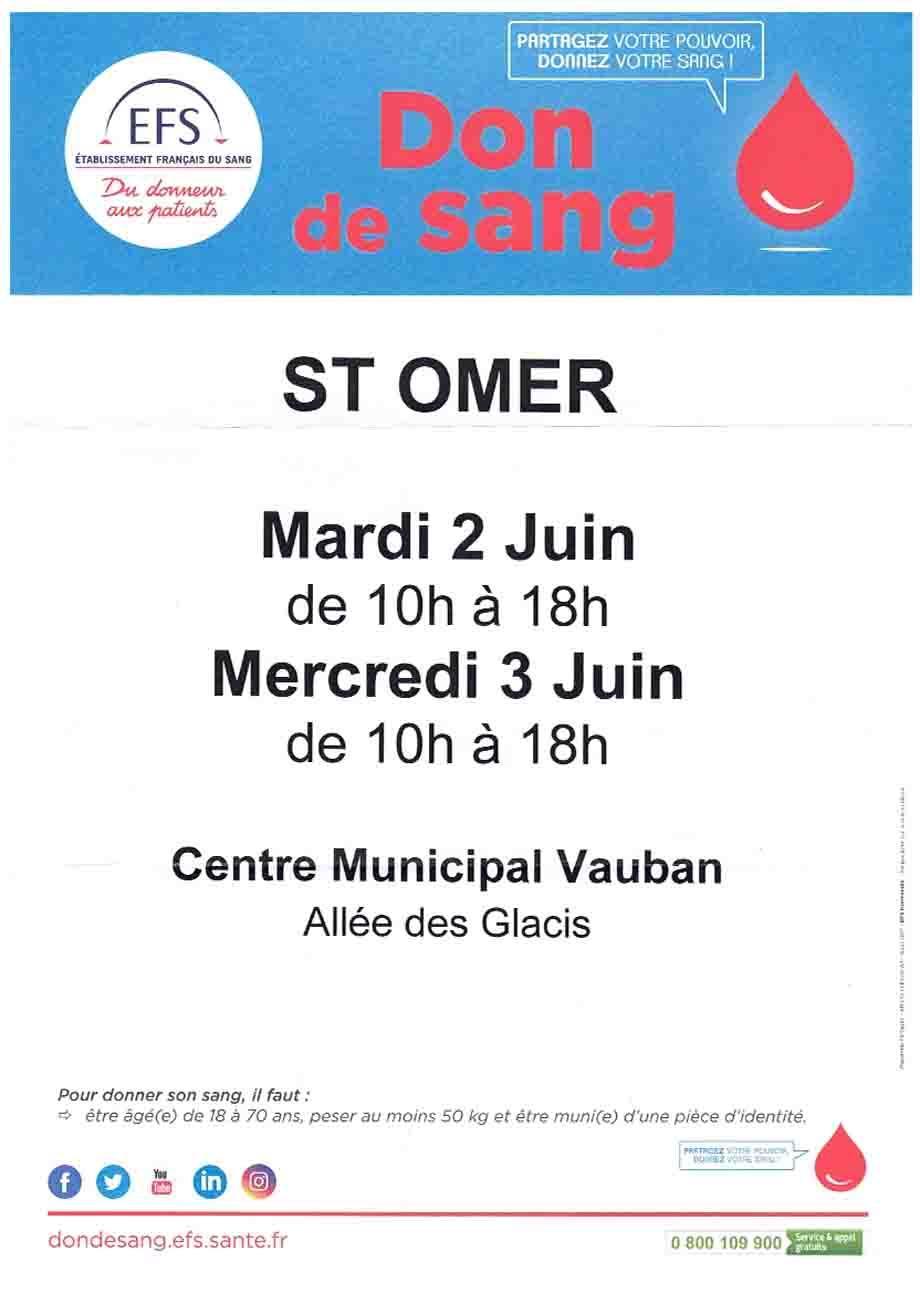Don de sang 2 et 3 juin