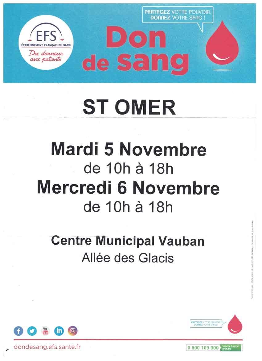 Don de sang 5 et 6 novembre
