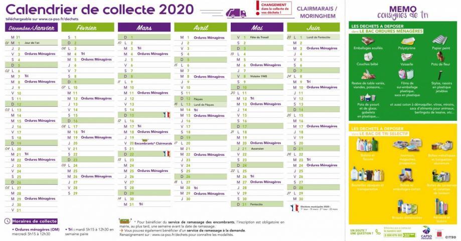 Moringhem calendrier collecte